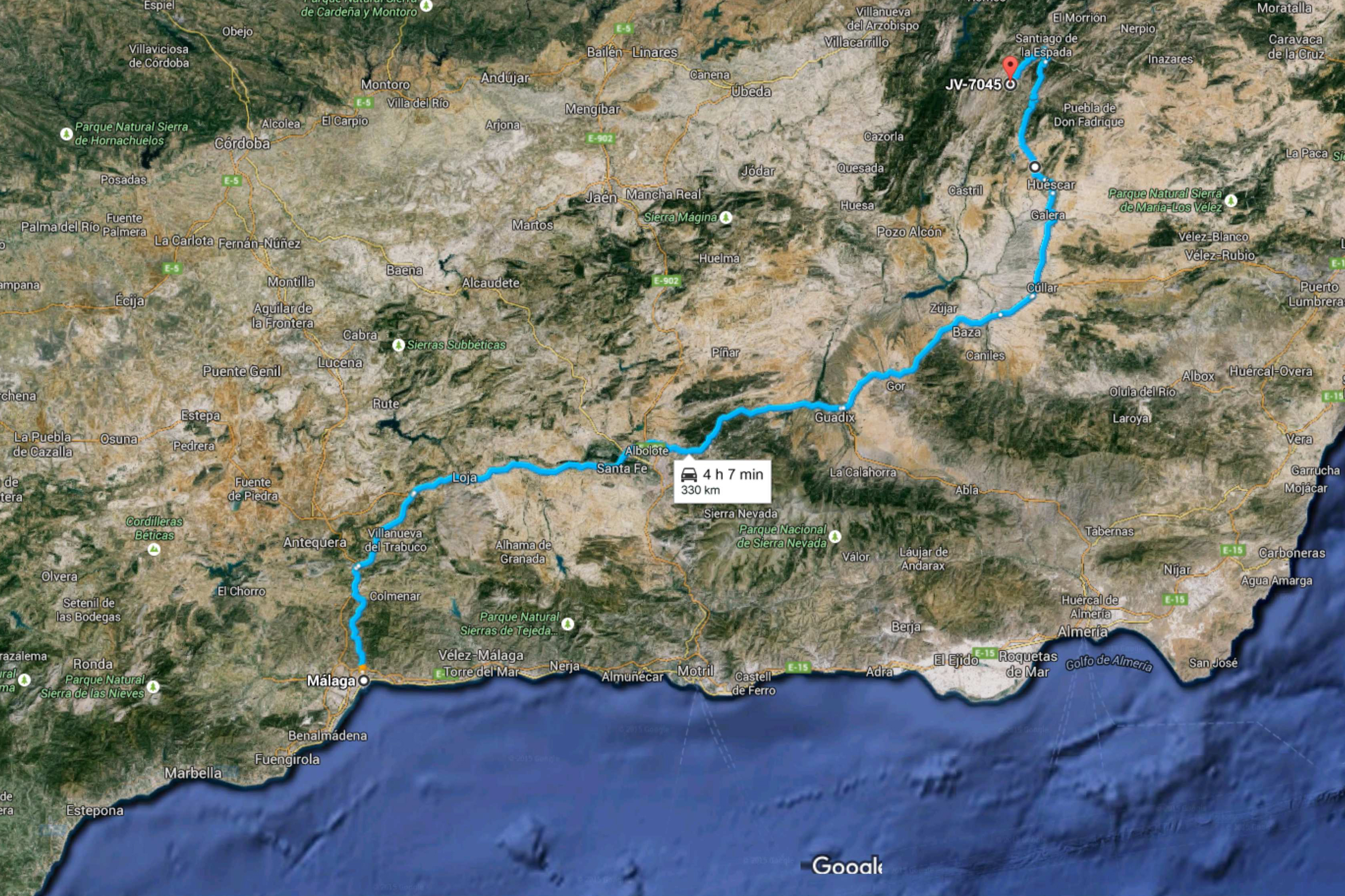 de Málaga a JV-7045, 23290, Jaén - Google Maps horizontal